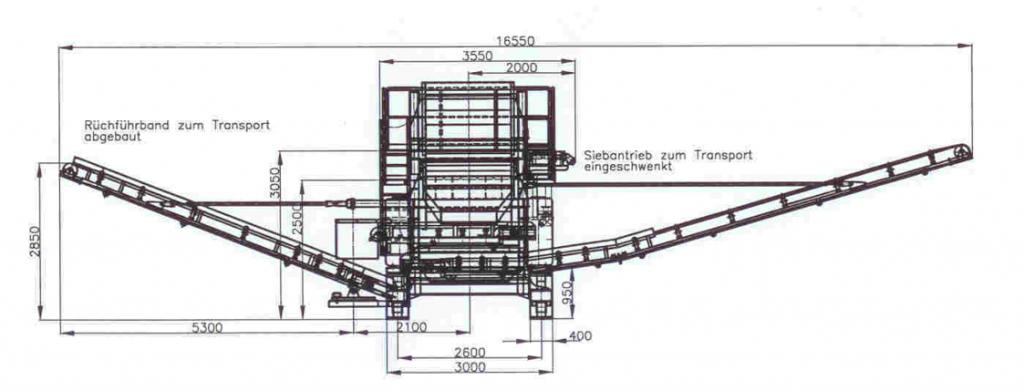 SM 1550 T. Габариты